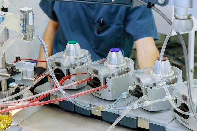 Operatiekamer voor tijdens hartoperatie in longmachine in apparaat circulatie bloed hart