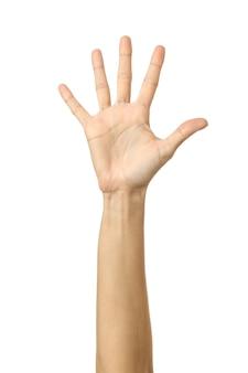 Opgestoken hand om te stemmen of geïsoleerd te bereiken