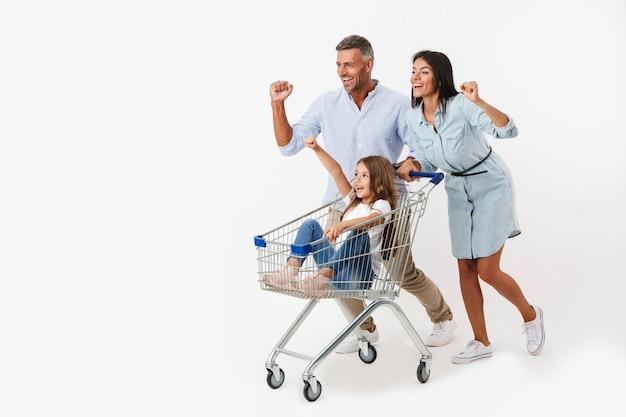 Opgewonden familie runnnig