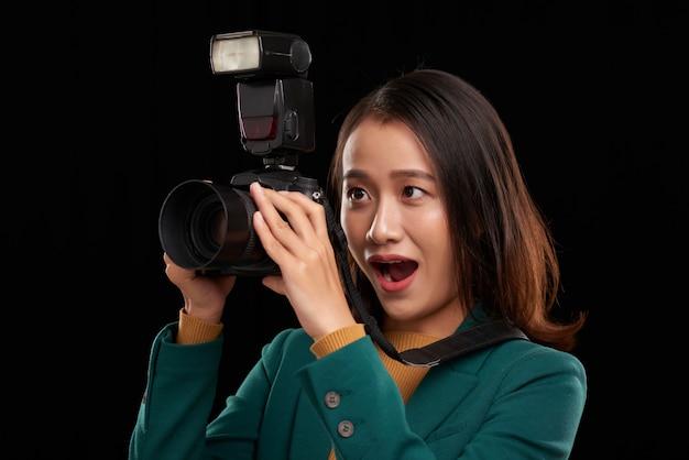 Opgewonden fotograaf