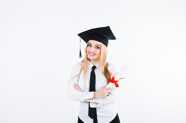 Opgewonden vrouw studeerde af aan de universiteit