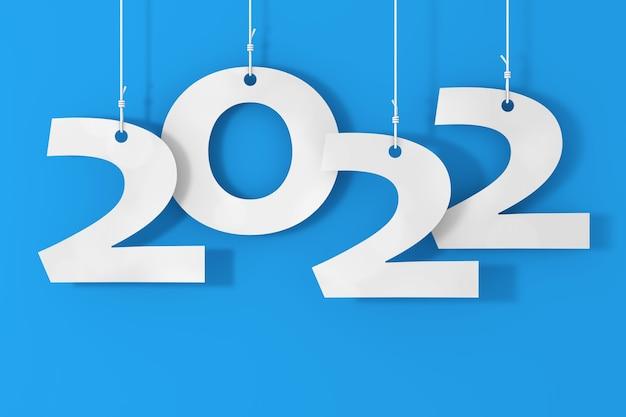 Opknoping op touwen nieuwjaar 2022 teken op een blauwe achtergrond. 3d-rendering