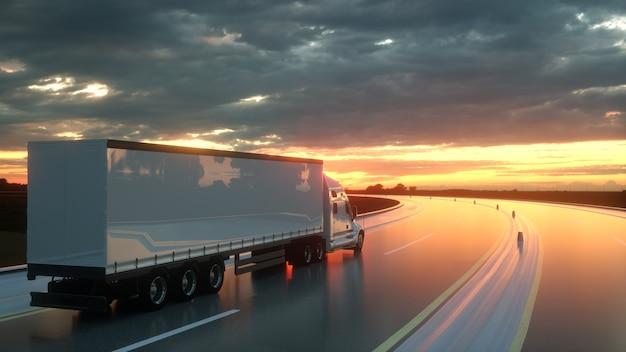 Oplegger op de snelweg van de asfaltweg bij de achtergrond van het zonsondergangvervoer