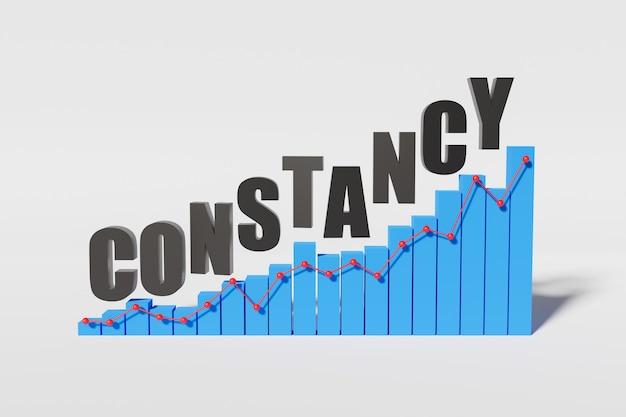 Oplopend grafiekconcept van standvastigheid en succes