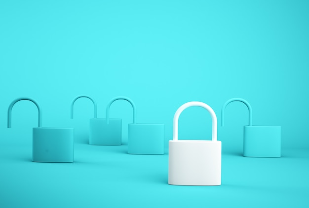 Opmerkelijk wit sleutelslot dat zich één verschillend van anderen op blauwe achtergrond bevindt. succesvolle zakelijke teamleider.