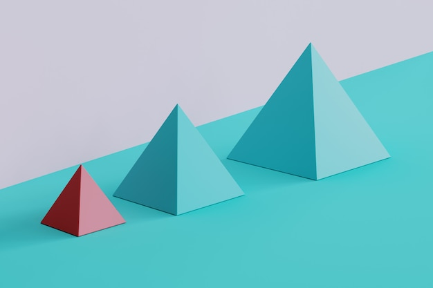 Opmerkelijke roze sqaurepiramide en blauwe piramides op blauwe en purpere achtergrond. minimaal conceptidee
