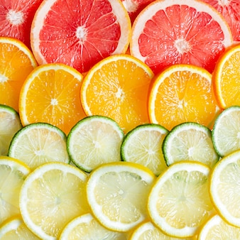 Oppervlak van citrusvruchten citroen, sinaasappel, limoen en grapefruit.