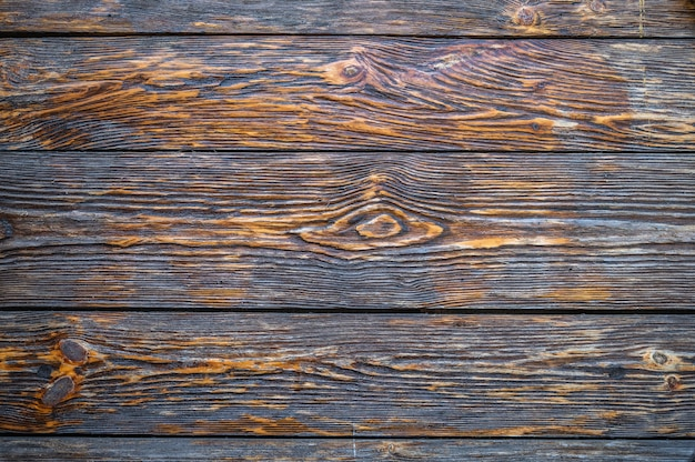 Oppervlak van oude donkerbruine structuurplaten met knopen