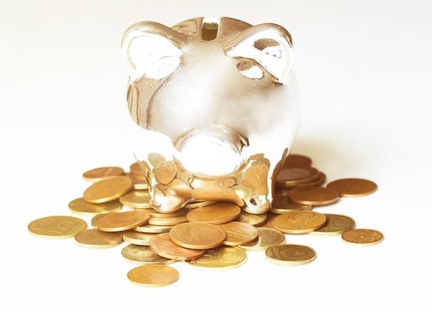 Opslaan, mannenhand een munt aanbrengend spaarvarken.