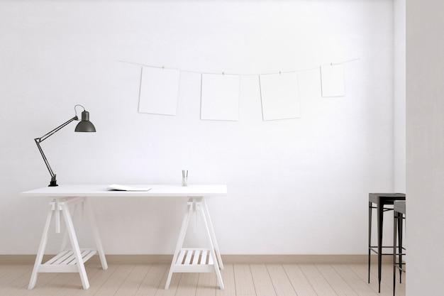 Opstelling met bureau en lamp