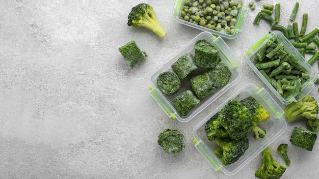 Opstelling van bevroren groen voedsel