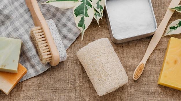 Opstelling van borstels en zeep