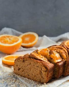 Opstelling van gezond recept met sinaasappels