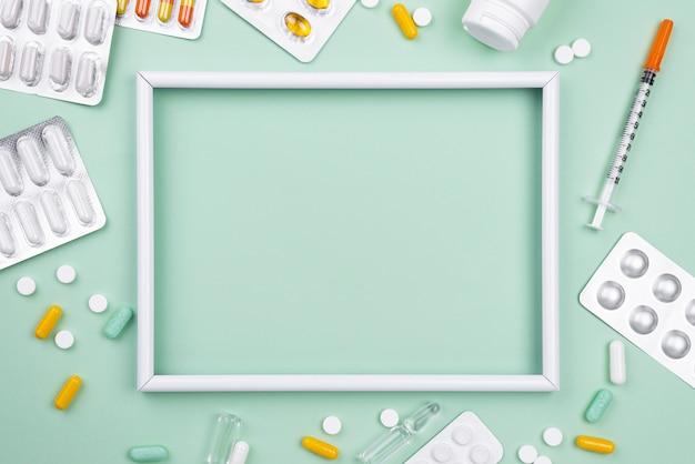 Opstelling van medische objecten met leeg frame