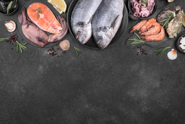 Opstelling van verschillende soorten vis bovenaanzicht