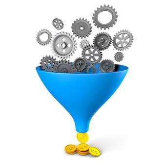 Optimalisatie en aanpassing van bedrijfsprocessen brengt geld versnellingen en verkooptrechter met munten
