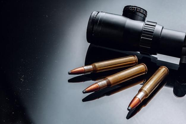Optische werkingssfeer voor geweer op zwarte achtergrond