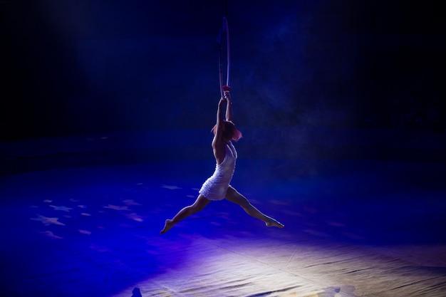 Optredens van artiesten op hoogte onder de koepel van het circus
