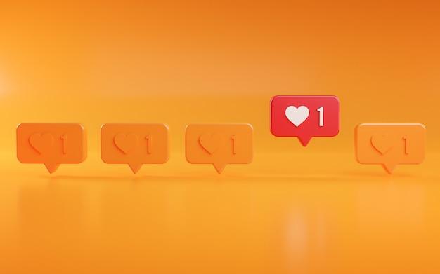 Opvallen love notification icon concept 3d-rendering
