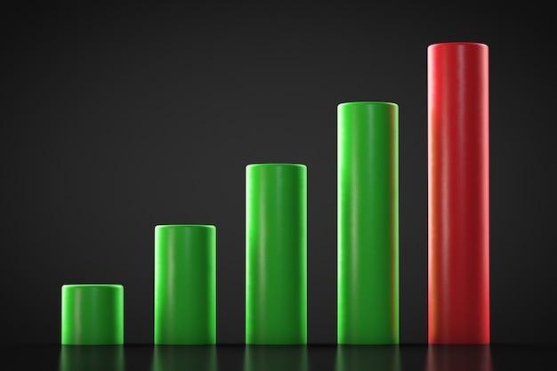 Opwaartse trendgrafiek. meerdere kolommen.