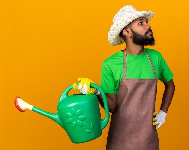 Opzoeken van jonge tuinman afro-amerikaanse man met tuinhoed en handschoenen met gieter hand op heup geïsoleerd op oranje muur