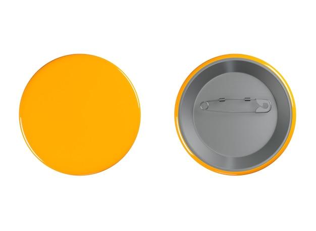 Oranje badges voor- en achteraanzicht op een witte achtergrond