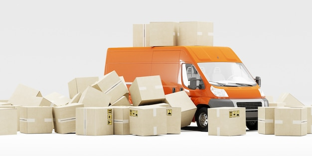 Oranje bestelwagen met kartonnen dozen