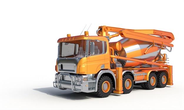 Oranje betonmixer op wit. 3d render.