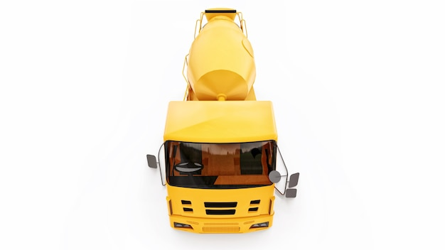 Oranje betonmixer vrachtwagen witte achtergrond 3d-rendering