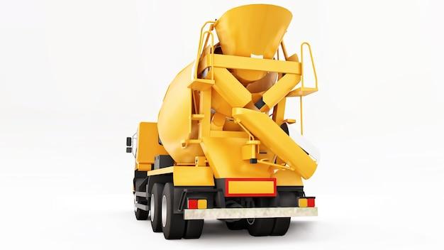Oranje betonmixer vrachtwagen witte achtergrond. driedimensionale afbeelding van bouwmachines. 3d-rendering.