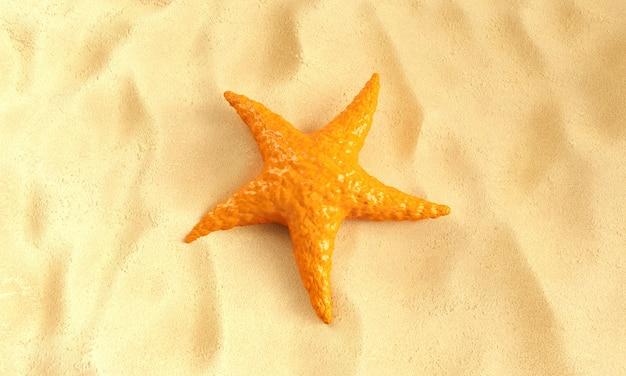 Oranje caraïbische zeester op een zandachtergrond. 3d-rendering