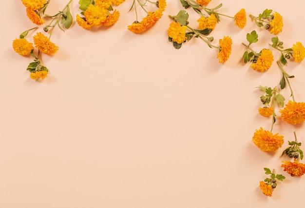 Oranje chrysanten op geel papier achtergrond
