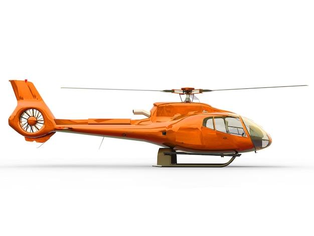 Oranje civiele helikopter op een wit uniform oppervlak