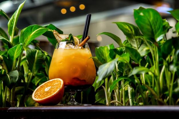 Oranje cocktail met het zijaanzicht van de muntkaneel