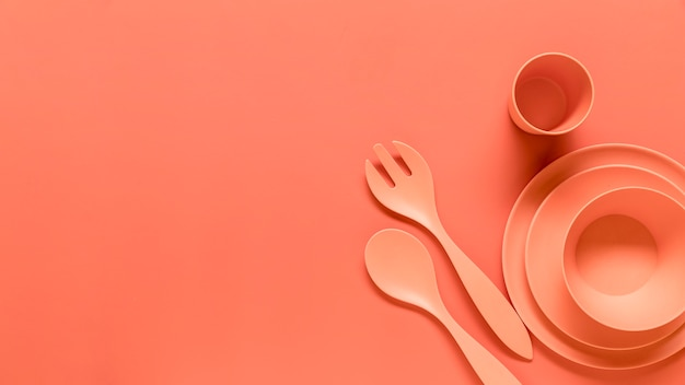 Oranje duurzame plastic servies