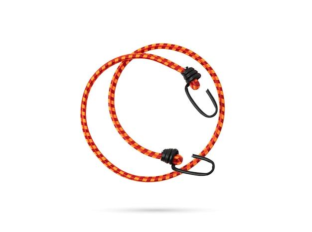 Oranje elastisch touw met haken op geïsoleerde witte achtergrond