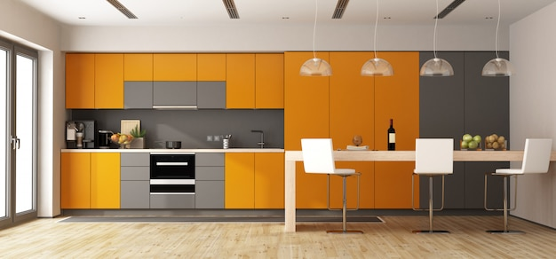 Oranje en grijs modern