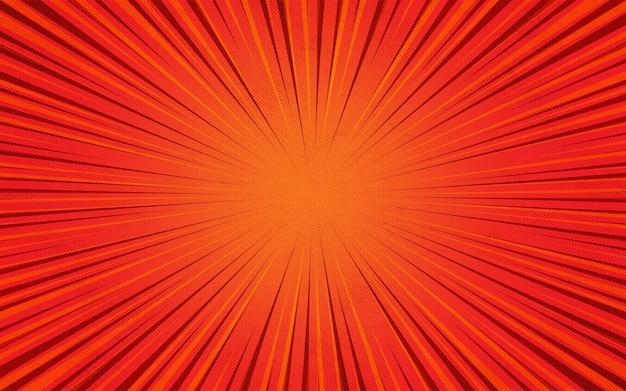 Oranje en rood burst komische zoom kleurrijke cartoon achtergrond