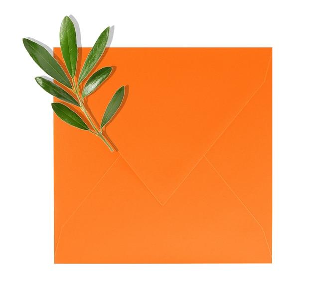 Oranje envelop en olijfboomtak op witte achtergrond