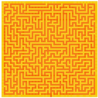 Oranje-gele doolhof textuur achtergrond bovenaanzicht