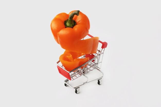 Oranje gesneden paprika