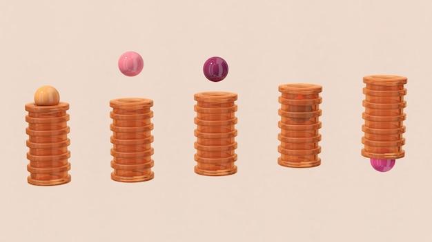 Oranje glazen buizen en kleurrijke ballen. de abstracte 3d illustratie, geeft terug.