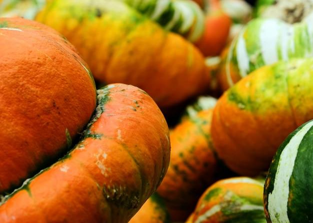 Oranje groene en gele pompoenen