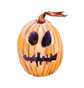 Oranje halloween jack o 'lantern pompoen geïsoleerd op een witte achtergrond