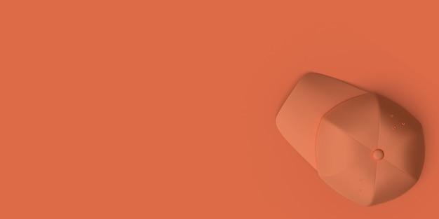 Oranje honkbalhoed op een rood abstract beeld als achtergrond