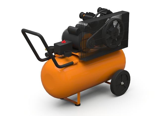 Oranje horizontale luchtcompressor geïsoleerd op een witte achtergrond. 3d-afbeelding.