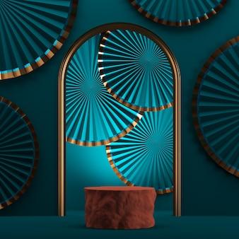 Oranje houten podium op mockup blauw papier fan achtergrond. abstracte achtergrond voor presentatie of advertenties. 3d-rendering