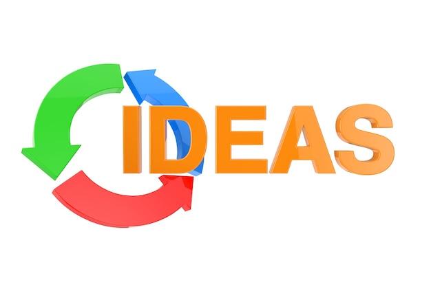 Oranje ideeën ondertekenen met kleur business conceptuele pijlen op een witte achtergrond. 3d-rendering
