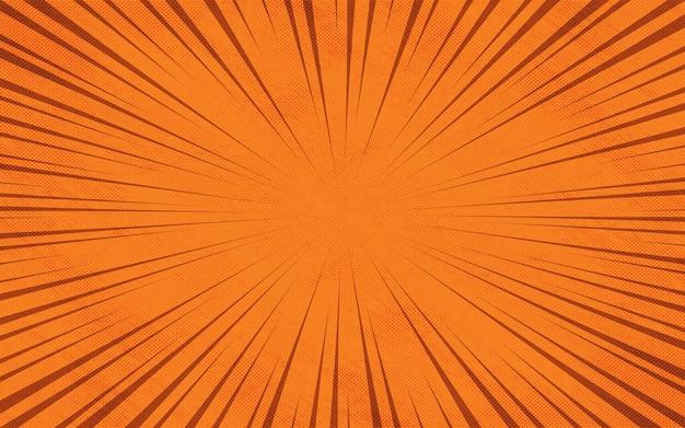 Oranje komische zoom stralen kleurrijke cartoon achtergrond