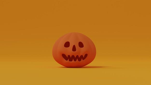 Oranje lachende pompoen geïsoleerd op gele achtergrond. jack o' lantaarn. vrolijke halloween-decoratie. 3d-rendering